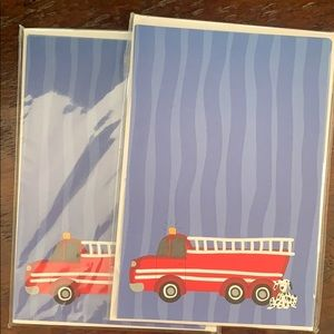 Mud Pies fire truck blank cards/invites
